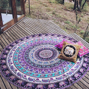 By The Moon - Virgo Mandala Throw - Round