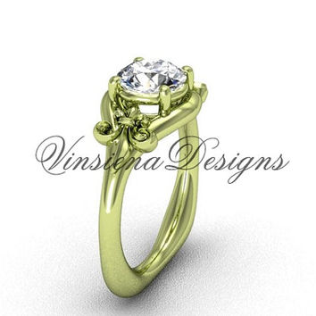 "14kt yellow gold Fleur de Lis engagement ring, ""Forever One"" Moissanite VD10022"