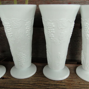 Mid century milk glass vases, vintage Harvest grape white floral vases, vintage wedding / shower table decorations /centerpiece, milk glass