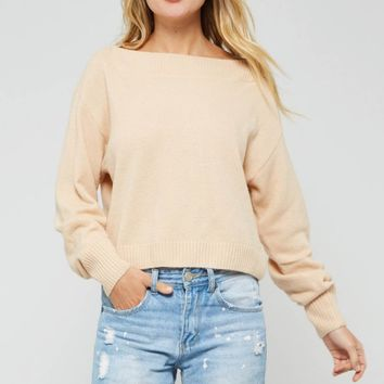 Dropped Shoulder Ribbed Detail Sweater Top