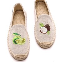 Embroidered Smoking Slipper Espadrilles
