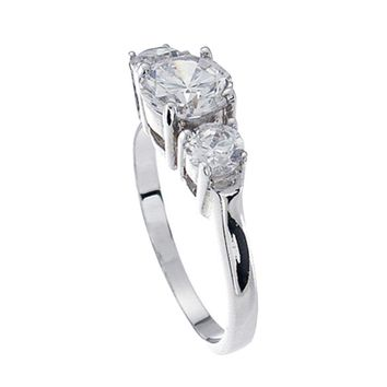 Plutus Brands 925 Sterling Silver Platinum Finish Brilliant Three Stone Engagement Ring 1.5 Carat Weight- Size 5