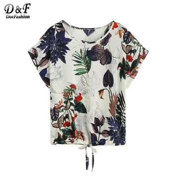 Printed Women T-Shirt Casual Girls Loose Summer T-Shirt Tropical Print Draw string Hem T-shirt