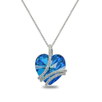 "Bermuda Blue Swirl ""My Love Forever"" Heart Necklace made with Swarovski Crystal"