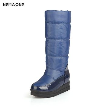 NEMAONE Women Snow Boots Australia Boots Winter Platform Wedge Heels Knee High Boots Black White blue red Shoes Big Size 43