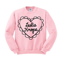 Leslie Knope Heart Crewneck Sweater Galentines Day Shirt, Parks And Recreation, Valentines Day, Best Friends Shirt, Gal Pals