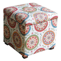 Cube Storage Ottoman Living Room Furniture Multi-Color Suzani Fabric Finish New
