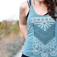 The Nomad - tribal womens tank top - moss green - chest plate screenprint - boho fashion - ladies top / for her