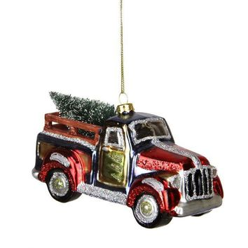 ONETOW 5.25' Multi-Color Glittered Glass Truck with Tree Christmas Ornament
