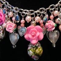 """Valentines Bracelet, Roses, Crystal Hearts, Acrylic flowers, Silver charms, Pink Pearls, Handcrafted, """"One of a Kind"""""""