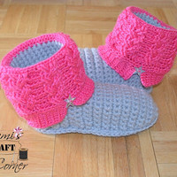 "Crochet Pattern: Kids ""Kickin' Cables"" Slipper Boots, Permission to Sell Finished Items"