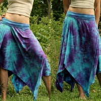 Long bamboo pixie skirt asymmetric woodland fairy tie dye psy wear maternity S, M, L