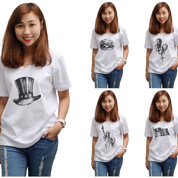 Women Independence Day Printed V-Neck Short Sleeves T-shirt WTS_16