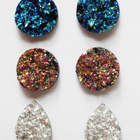 Set of Druzy Stud earrings