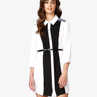 High-Low Georgette Shirtdress w/ Belt