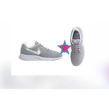 Rhinestone Shoes Bedazzled Gray Nike Tanjun