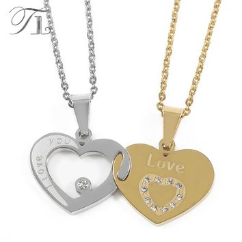 "TL ""I Love You "" Letters Heart Puzzle Pendant Necklace Gold&Silver Stainless Steel Couple Lovers Half Heart Necklaces & Pendants"
