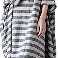 Women's Casual Loose Fitting Poceket Maxi Striped Dress Plus Size Oversized
