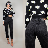LEE Jeans Black 80's SKINNY JEANS Denim High waist Tight grunge Cropped ankle xs / small