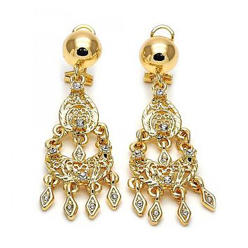 Gold Layered 5.097.012.1 Chandelier Earring, with White Cubic Zirconia, Diamond Cutting Finish, Golden Tone