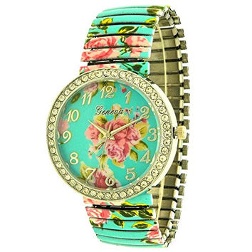 Turquoise Rose Design Legible Stretching Comfortable Band Flexible Links Gem Set Ladies Girls Watch