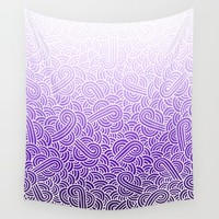 Ombre purple and white swirls zentangle Wall Tapestry by Savousepate