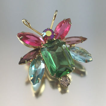 Verified Juliana Delizza & Elster Colorful Bug/Bee/Butterfly Figural Brooch - Vintage 1950s Scatter Pin