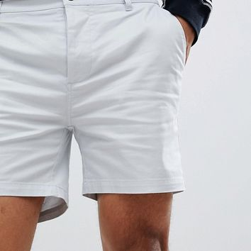 ASOS DESIGN Skinny Shorter Shorts In Ice Grey at asos.com