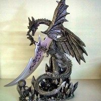 Dragon Knife Dagger Large Figurine Statue Gothic Black
