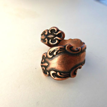Spoon Ring. Copper ring, copper jewelry, bohemian fashion accessories.