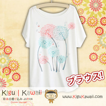 New Simple Petals Fashionable Loose and High Quality Spring and Summer Tshirt Free Size KK455
