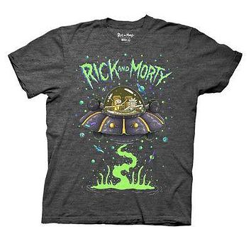 Rick And Morty Spaceship Logo Adult Swim Licensed Unisex T-Shirts - Grey