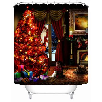 2016 New Waterproof fabric-shower-curtain Christmas Tree Eco-Friendly High Quality Shower Curtains Bathroom Products Y-150