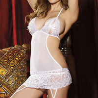 Women Sexy Deep-V Lingerie Night Sleepwear Lace Backless Babydoll = 1705557508
