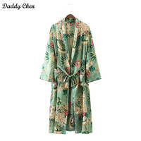 Traditional Japanese Beach long Kimono Cardigan Women robe Floral Blouse femme boho sexy kimonos ladies satin Fashion Green leaf