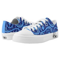 Cosmic Denim Tossing Blue Vines Low Top Shoes