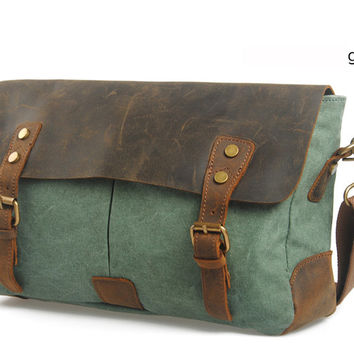 Vintage Military Canvas + Leather shoulder bags Men messenger bag men Leisure bag canvas Sling bag