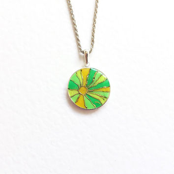 Pendant Hand painted Sunshine.yellow lime green mosaic golden gift for her neon