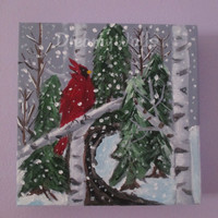 Christmas Seasonal Cardinal Winter Painting on Canvas