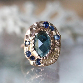 Deep Blue Rose Cut Sapphire 14K Rose Gold, Engagement Ring, Slice Diamond, Stacking Ring, Gemstone Ring, Recycled - Ship In The Next 9 Days