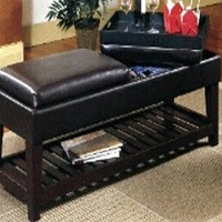 A.M.B. Furniture & Design :: **  Clearance ** :: Black Vinyl Bench With Flip Top Seats To reveal Two Serving Trays