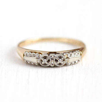 Vintage Wedding Band - 14k Rosy Yellow & White Gold Diamond Ring - Late Art Deco 1940s Size 5 3/4 Engagement Bridal Fine Two Stone Jewelry