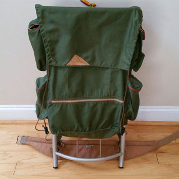 Vintage Olive Army Green Kelty Pack Hiking Backpack with External Frame