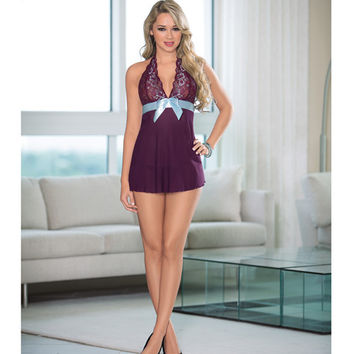 Sheer Baby Doll W-ribbon Bow Plum-turquoise