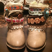 "The ""Karen"" - Custom Upcycled Leather Cowboy Boots"