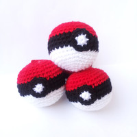 3 POKEBALL POKEMON AMIGURUMI  christmas ornament or just for decorating