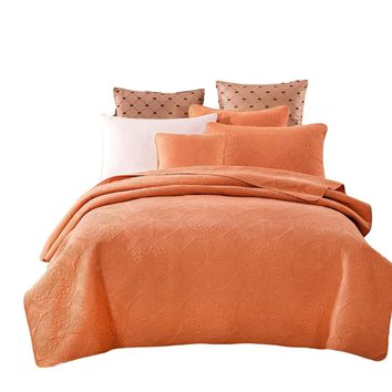 Tache Cotton Solid Tuscany Sunrise 2-3 Piece Orange Floral Bedspread Set (JHW-595)