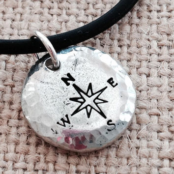 Men's necklace. Pewter pendant hand stamped with compass. Rubber or leather cord. Anniversary, birthday, boyfriend, husband gift. Trendy.