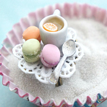 french macarons and tea ring- miniature food jewelry, tea cup ring