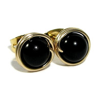 6mm Black Onyx Stud Earrings Wire Wrapped 14k Gold Filled Post Earrings or Sterling Silver Multiple Bead Choices